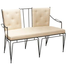 Wrought iron settee and chairs by Marc du Plantier | From a unique collection of antique and modern settees at https://www.1stdibs.com/furniture/seating/settees/
