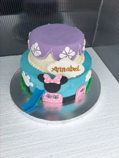 Minnie Mouse clubhouse/Sofia the 1st inspired cake