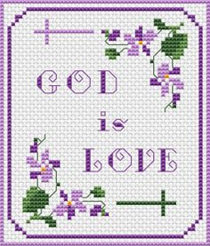 "Floral motif in violet and green and the Bible verse: ""God is Love"" (1 John 4:8)"