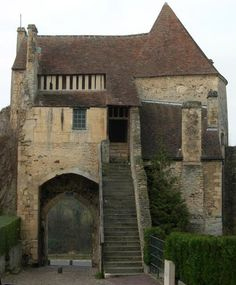 The defensive walls of Falaise still survive. This is one of the gate houses - an unforgettable image of medieval Normandy. Nearby is Arlette's Fountain, where Duke Robert first met her. Medieval World, Medieval Castle, Historical Architecture, Architecture Design, Beautiful Buildings, Beautiful Places, Tower House, Gate House, Fantasy Places