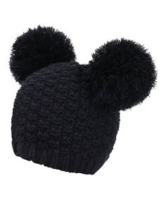 Hats & Caps, Women's Hats & Caps, Skullies & Beanies, Women's Winter Chunky Knit Beanie Hat w/Double Pompom Ears Black # # Pom Pom Beanie Hat, Knit Beanie Hat, Beanies, Knit Mittens, Knitted Gloves, Cold Weather Fashion, Winter Fashion, Black Beanie, Caps Hats
