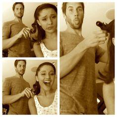 @ArianaGrande  Getting ready w @paulnortonhair #paulsponytails #hi ❤ Aug12