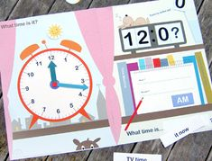 Teaching Clock File Folder Game     This printable clock is actually a file folder game you can create for free.  In addition to a face clock, it includes a digital clock and a notepad to help teach time in numbers and words as well.