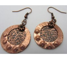 Two-Tier Copper Disk Earrings, Etched and Textured  OOAK  $23.00