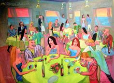 """Reunion social 4"", acrylic on canvas, 130 x 95 cm. 2009 Price of original painting: inquire"