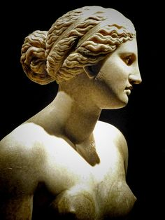 "Aphrodite, known as the goddess of love. A perfect example of ancient beauty, the ""Greek profile"" is idealized by all classical Greek sculptors. (School of Praxiteles, circa 360 B.C.)"