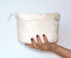Ivory Satin and Lace Wedding Cosmetic Pouch by ColoradoCraftChic