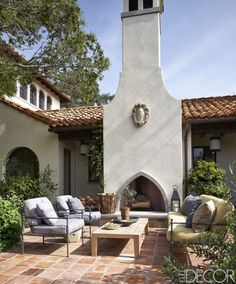 spanish style patio with outdoor fireplace Mediterranean Style Homes, Spanish Style Homes, Spanish Revival, Spanish House, Spanish Colonial, Outdoor Rooms, Outdoor Living, Outdoor Tiles, Spanish Courtyard