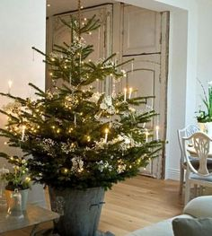 Natural Christmas tree lit with candles in zinc bucket in vintage style room
