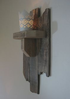 Wall mounted reclaimed wood candle/tealight by Boisjolifurniture
