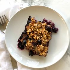 BANANA BLUEBERRY BAKED OATMEAL is chock-full of fruit and just this side of sweet -- a warm, comforting breakfast for when you have a few extra minutes, like on the weekend. It's vegetarian, but can be easily vegan-ized.