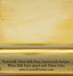 """Buttermilk Yellow Milk Paint, layered with Antique White, glazed with Yellow Ochre by GeneralFinishes. Not really a """"milk"""" paint but a smooth working 100% water base acrylic paint, it is perfect for indoor/outdoor furniture & projects - visit http://www.generalfinishes.com/retail-products/water-base-milk-paints-glazes. Mix it, lighten it, distress it, glaze it, antique it. Buy at Rockler & Woodcraft Woodworking stores. Find more stores at http://www.generalfinishes.com/where-buy."""