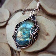 Copper wrapped gold labradorite necklace Elven free form