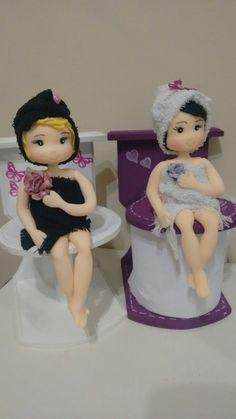 Toilet roll holder hanging shelf Textile Doll Toilet tissue holder Bathroom organiser Toilet paper H