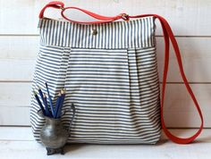STOCKHOLM NAVY and white Pleated French Messenger Baby by ikabags, $66.00