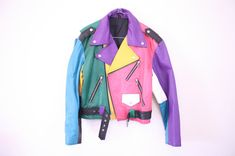 Rainbow Leather Motorcycle Biker by redleatheryellow Leather Motorcycle Boots, Motorcycle Outfit, Leather Jacket, Biker Leather, Motorcycle Jacket, Classy Outfits, Cool Outfits, Fashion Outfits, Style Fashion