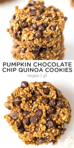 Recipes Snacks Vegan Dive into fall with these homemade pumpkin chocolate chip quinoa cookies! Easy to make, packed with healthy ingredients, and full of warm autumn spices and chewy chocolate chips. They're the best fall treat! Vegan and gluten-free. Vegan Sweets, Healthy Dessert Recipes, Healthy Baking, Healthy Desserts, Gourmet Recipes, Whole Food Recipes, Easy Desserts, Healthy Food, Healthy Pumpkin Recipes