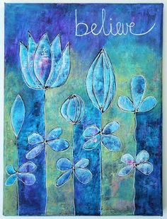 Inky Dinky Doodle: WOYWW #330: Mixed Media Canvas 'Believe'