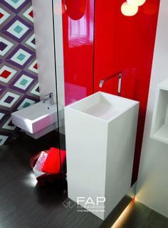 WALL Cupido bianco e rosso Cupido emozione colore rombi #fapceramiche #cupido #ceramic #interior #bathroom #madeinitaly