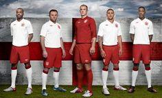 Wayne Rooney, Joe Hart, Kyle Walker, Darren Bent and Danny Welbeck pose in the England St George's collection