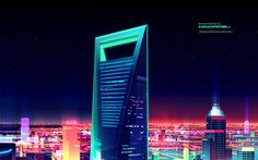 Futuristic Shanghai Digital Art Wallpaper, HD City Wallpapers, Images, Photos and Background Illustration Nocturne, Graphic Illustration, Night Illustration, Vector Illustrations, Digital Illustration, Shanghai World Financial Center, Shanghai Night, 80s Design, Graphic Design