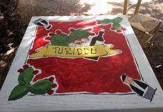 """Acrilico su legno Tavolo """"Turiddu"""""""