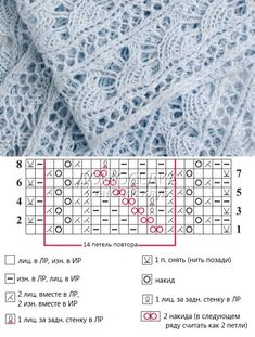 Knitted lace ~~ Truly pretty pattern!!! ~~ Ажурный шарфик. Схема