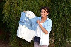 D.I.Y Half-Bleached Denim Top  What you'll need: - Denim top, shorts, vest or jeans  - Bleach - Gloves - A bucket