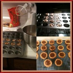 Reece's peanut butter cookies. I get the PB cookie mix by Betty Crocker, prepare and bake according to directions, except in a mini muffin tin. Fill tin half way and bake, unwrap the Reese's mini cups( I usually freeze them to make unwrapping easier) make sure these are ready when the cookies come out. Then press the Reese's in the warm cookie while still in the pan, let cool then transfer to cookie cooling rack. These are amazing!