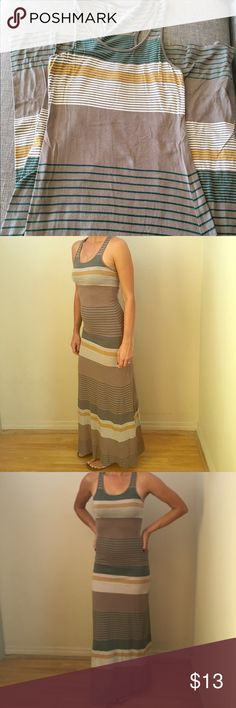 Threads 4 Thought Maxi dress Threads For Thought striped maxi dress size XS.  Worn a few times still in very good condition.  Mixture of  brown, teal, mustard and white stripes.  Love this dress but best with a flat tummy. Threads 4 Thought Dresses Maxi