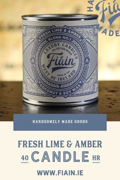 Fresh Lime & Amber has a super fresh masculine fragrance, served up in this vintage apothecary styled tin. You'll end up keeping it for yourself rather than gifting it as you'd intended (mark our words). It has a crisp, uplifting fragrance with a hint of aftershave. Simply adored by our customers. Notes of wild freesia, fresh lime and amber. #coconutwaxcandle #luxurycandle #premiumcandle #irishmadecandles #vintagepackaging #candlepackaging #fiain #fiaincrafted