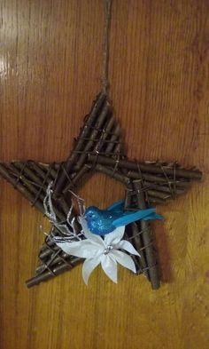 Vánoční dekorace na dveře hvězda a ptáček