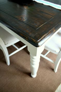 Refinishing kitchen table...same idea except keep the chair seat part dark wood and the rest white.. or make my own patterned chair cover.. also same process to the matching server