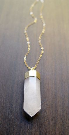 Vanilla Quartz Point Necklace - 14K Gold. $69.00, via Etsy.