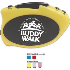 Step-It Up Pedometer (TM). Available in 2 Translucent and 3 Solid colors! Wide pedometer with large imprint area allows for easy reading of data when on the move. Accurately counts number of steps and measures distance in miles or kilometers. Reads calories burned and allows for stride setting. Attaches to top of pants, belt or pocket. Ideal for walk-a-thons, healthcare fairs and health insurance companies. AG13 battery included.