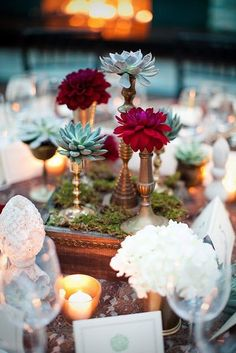succulents & single blooms on candlesticks | Outdoor Entertaining
