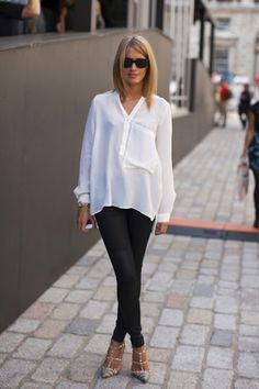 White blouse. Skinny pants. Strappy heels.