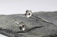 Cherry blossom branch cuff, sterling silver, custom order, sakura jewelry, sakura bracelet, gifts for her