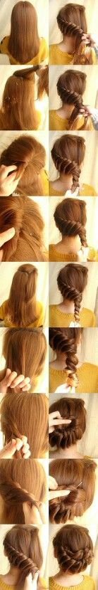 Tucked french braid* (2 strands twisted, not 3 strands braided). Gorgeous updo.