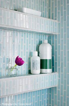 Shelves Built Within the Shower. Awesome space saver so all your bottles don't crowd along the tub.