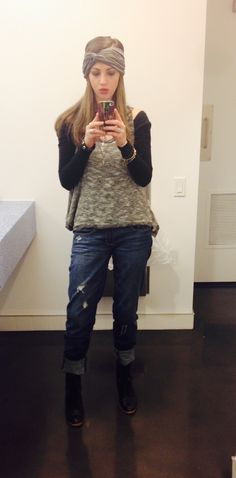#WinterWideBands Boyfriend Jeans by www.abercrombie.com Knit Dress Top and wideband by www.freepeople.com