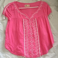 Hollister pink embroidered blouse with tassels top Summer top Hollister Tops Blouses