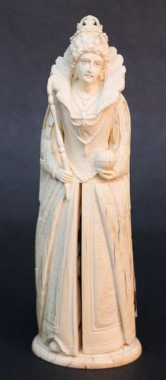 Unusual Continental carved ivory figure of Queen, 19th century.