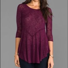 Free people weekends layering shirt xs Beautiful burgundy color! Very Long in the front. Just a small snag at the front not noticeable Free People Tops
