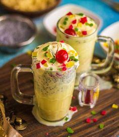 Kesar Pista Falooda Recipe by Archana's Kitchen Falooda Recipe, Kheer Recipe, Indian Dessert Recipes, Indian Snacks, Indian Drinks, Indian Recipes, Amazing Food Photography, Food Gallery, Dessert Drinks