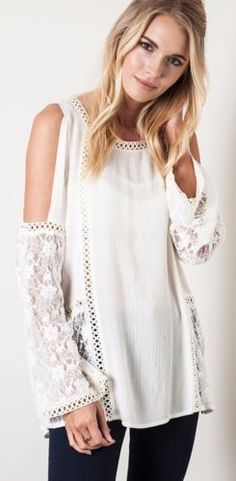 2393cee704ca20 Umgee Lace Peasant Blouse   Cold Shoulder   Cut Out Open Top Boho Cream  B5476