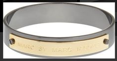 Marc by Marc Jacobs Logo Bangle in Oro/Heatite Size M/L CFDA Pop Sugar Retail Value $80