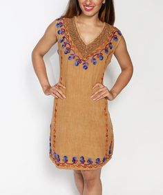 Loving this Brown Embroidered Sleeveless Peasant Tunic - Plus on #zulily! #zulilyfinds