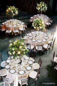adolphus busch hall wedding with large white centerpieces