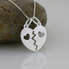 Breakaway Heart Necklace Sterling Silver Break by Alyssasdreams
